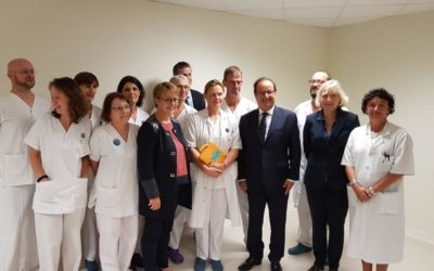 Visite de François Hollande, président de la fondation La France s'engage
