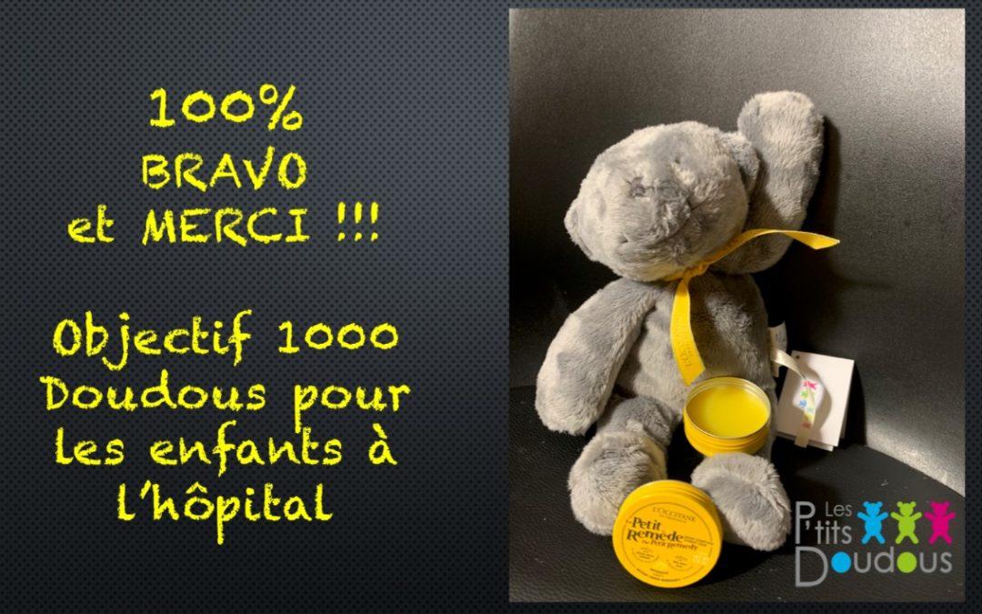 Campagne Ulule : 100% atteints − objectif 1000 Doudous Gris !